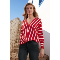 Capture Stripe Drop Shoulder Sweater - Red/white Stripe - Red/white Stripe - XS found on Bargain Bro India from BE ME for $39.83