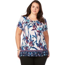 Beme Short Sleeve Border Print Top - Multi - XS found on Bargain Bro India from BE ME for $15.43