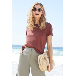 Capture Linen Blend Tee - Cinnamon - 10 found on Bargain Bro India from Rockmans for $37.03