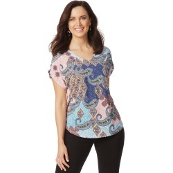 Rockmans Short Sleeve Bright Mix Print Top - Multi - XS found on Bargain Bro India from Rockmans for $25.55