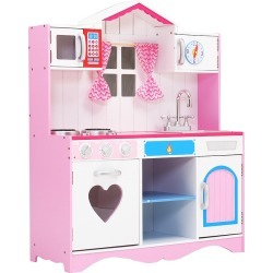Keezi Kids Kitchen Set Pretend Play Food Sets Childrens Utensils Toys Pink Pink/ White - Pink/ White - One found on Bargain Bro India from Rockmans for $132.88