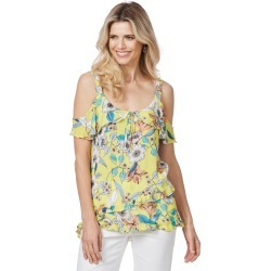 Rockmans Sleeveless Mock Wrap Floral Top - Yellow Multi - 8 found on Bargain Bro Philippines from Rockmans for $8.85
