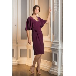 European Collection Beaded V Neck Dress - Burgundy - 40 found on Bargain Bro India from crossroads for $76.24