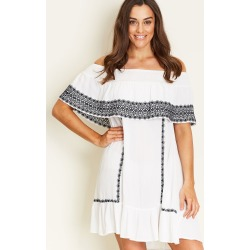 Crossroads Boho Embroidered Dress - White - 10 found on Bargain Bro from Noni B Limited for USD $7.10
