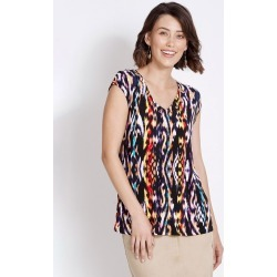 Rockmans Extended Sleeve Eyelet Print Top - Ikat Multi - XS found on Bargain Bro India from crossroads for $7.77