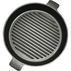 Soga 25cm Round Ribbed Cast Iron Frypan With Handle - Black found on Bargain Bro India from crossroads for $33.74