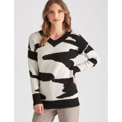 Liz Jordan L/s Animal Jacquard Jumper - Black - L found on Bargain Bro Philippines from crossroads for $39.29