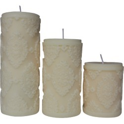 Diamond Scupture Pillar Candle Set - Cream