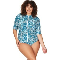 Artesands Arabesque Mid Sleeve Length, Full Zipper Front Sun Safe Swim Top - Blue found on Bargain Bro Philippines from crossroads for $66.70