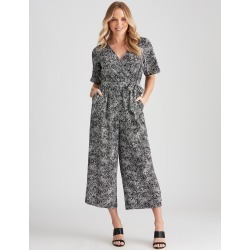 Crossroads Short-sleeve Wrap Neck Jumpsuit - Reptile Print - 8 found on Bargain Bro Philippines from crossroads for $19.65