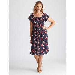 Millers Online Exclusive Cap Sleeve Shirred Bust Midi Dress - Navy Print - 10 found on Bargain Bro from Katies for USD $11.83