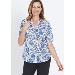 3/4 Sleeve Button Through Voile Shirt - Dusty Blue Geo - 14 found on Bargain Bro India from Rockmans for $12.31