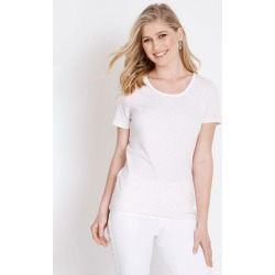 Rockmans Short Sleeve Scoop Neck Stripe Tee - Musk/white - Musk/white - XS found on Bargain Bro India from W Lane for $6.22