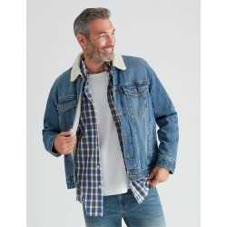 Rivers Sherpa Denim Jacket - Mid Wash - S found on Bargain Bro from Rockmans for USD $31.54