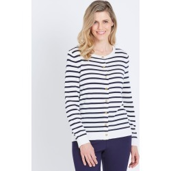W.lane Trim Detail Cardigan - French Navy Stripe - S found on Bargain Bro from Noni B Limited for USD $14.73