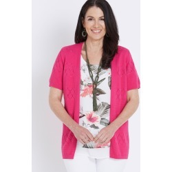 Millers Short Sleeve Texture Crop Cardigan - Magenta - M found on Bargain Bro India from W Lane for $11.66