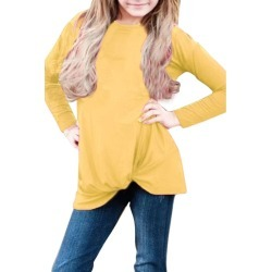 Mustard Twist Knot Detail Long Sleeve Girls Top - Yellow - S found on MODAPINS from Noni B Limited for USD $44.64