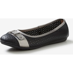 Rivers Leathersoft Trim Ballet Flat - Black/pewter - Black/pewter - 37 found on Bargain Bro India from Rockmans for $30.41