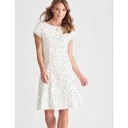 Liz Jordan Short Sleeve Spot Dress - Ivory - 18 found on Bargain Bro from Noni B Limited for USD $23.90