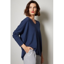 Grace Hill Cashmere Blend V Neck Sweater - Midnight Marl - S found on Bargain Bro from crossroads for USD $49.90