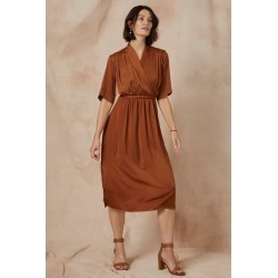 Grace Hill Satin Wrap Midi Dress - Chestnut - 12 found on Bargain Bro from Noni B Limited for USD $21.72