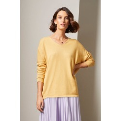 Grace Hill Cashmere Blend V Neck Sweater - Ochre - L found on Bargain Bro from crossroads for USD $49.90
