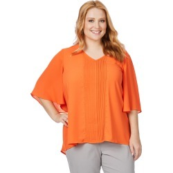 Beme Elbow Sleeve V Neck Pleat Stud front Top - Orange - 14 found on Bargain Bro from BE ME for USD $8.53