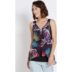 Rockmans Sleeveless Woven Layer Ring Detail Top - Palm Multi - XS found on Bargain Bro Philippines from Rockmans for $5.68