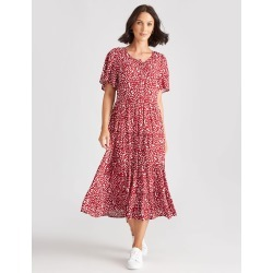 Katies Woven Tiered Dress - Ditsy Spot - 14 found on Bargain Bro from crossroads for USD $26.83