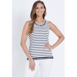W.lane Pom Pom Trim Tank - French Navy - L found on Bargain Bro Philippines from W Lane for $15.72