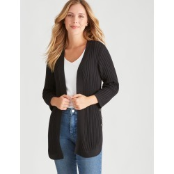 Rockmans 3/4 Sleeve Button Side Cardi - Black - XS found on Bargain Bro from Noni B Limited for USD $17.05