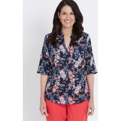 Millers Short Sleeve Button Through Voile Shirt - Navy Batik Paisley - 14 found on Bargain Bro India from W Lane for $11.66