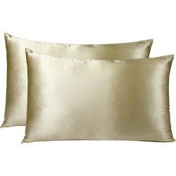 Royal Comfort Mulberry Silk Pillowcase Twin Pack - Champagne - ONE found on Bargain Bro India from W Lane for $42.73
