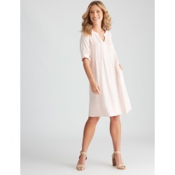 Rockmans Knee Length Pintuck Linen Blend Dress - Rose - 10 found on Bargain Bro from Katies for USD $10.66