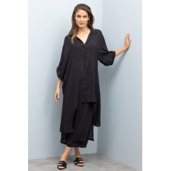 Grace Hill Longline Tab Sleeve Shirt - Black - 10 found on Bargain Bro from Rivers for USD $29.38