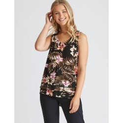 Rockmans Sleeveless V Lace Tropical Print Top - Black Foral - 10 found on Bargain Bro India from Rivers for $15.55