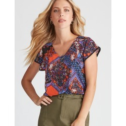 Rockmans Cap Sleeve Patchwork Floral Print Top - Multi - XL found on Bargain Bro from BE ME for USD $5.86