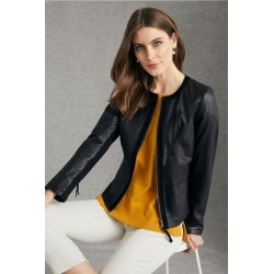 Grace Hill Leather Zip Front Jacket - Black - 22 found on Bargain Bro India from Rockmans for $190.60