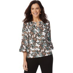 Rockmans 3/4 Sleeve Frill Sleeve Paisley Print Top - Multi - XS found on Bargain Bro India from Rockmans for $25.55