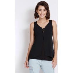 Rockmans Sleeveless Woven Layer Ring Detail Top - Black - L found on Bargain Bro India from Rockmans for $5.68