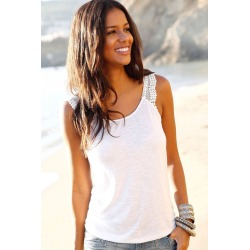 Urban Crochet Trim Tank - White - 6 found on Bargain Bro from BE ME for USD $8.79