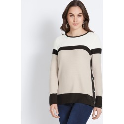 Katies Button Detail Cotton Knit Jumper - Stone/white - S found on Bargain Bro India from Noni B Limited for $26.06