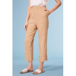 Capture Linen Blend Button Cuff Crop - Clay - 10 found on Bargain Bro from Katies for USD $23.08