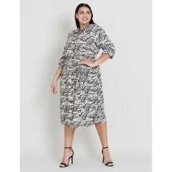 Beme Abstract Print Linen Dress - Abstract Brush Print - 16 found on Bargain Bro India from crossroads for $40.11