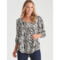Crossroads Bishop Sleeve V Neck blouse - Zebra - 14 found on Bargain Bro India from W Lane for $22.87