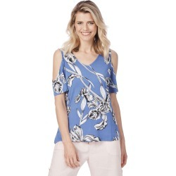 Rockmans Short Sleeve Lily Print Top - Blue Multi - XS found on Bargain Bro Philippines from Rockmans for $5.90