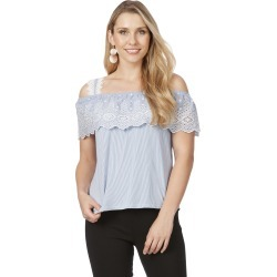 Rockmans Short Sleeve Broderie Stripe Top - Blue Stripe - L found on Bargain Bro India from crossroads for $7.77