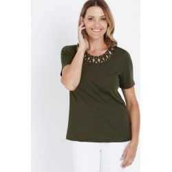 Millers Short Sleeve Loop Neck Detail Top - Algiers Blue found on Bargain Bro Philippines from crossroads for $10.76