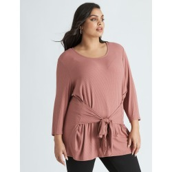 Beme 3/4 Sleeve Tie Detail Top - Pink - S found on Bargain Bro from crossroads for USD $14.65