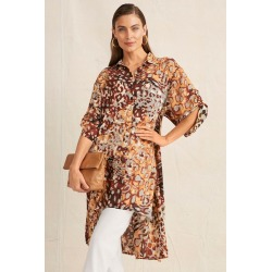 Grace Hill Longline Tab Sleeve Shirt - Animal Print - 10 found on Bargain Bro Philippines from W Lane for $46.59